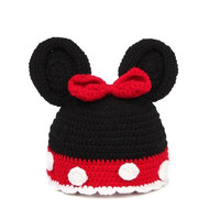 Winter Warm Baby Newborn Infant White Dot Red Bow Black Knitted Crochet Cap Hat (Size: 1-2 Years, Color: Red & Black) = 1958250308