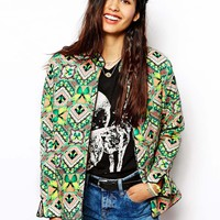 Native Rose Quilted Bomber Jacket in Kaleidoscopic Floral Print
