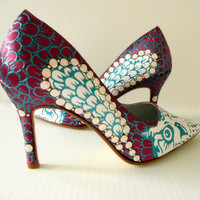 Wedding Shoes burgundy owls and pearls