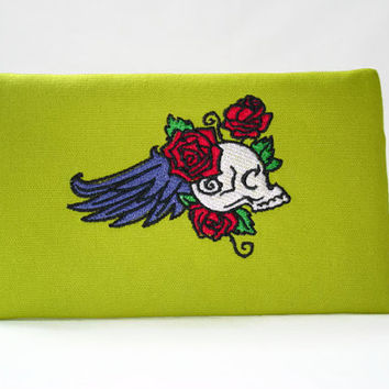 Goth Clutch Zip Wallet With Embroidered Skeleton Design Chartreuse Zippered Makeup Clutch Tattoo Skeleton Iphone Wallet