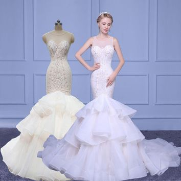 Real images New Fashion Lace beads Mermaid trumpet in stock Champagne White Wedding Dresses 2018 O-neck Bridal Gown Customize