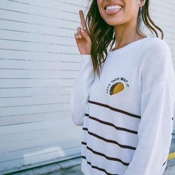 """Let's Taco Bout It"" Knitted Sweater"