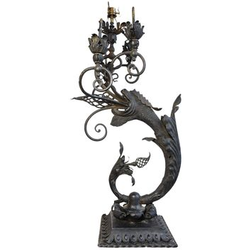 Incredibly Rare 1880s Iron Gas Newel Post Light in Dragon Form