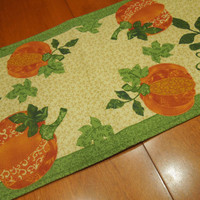 Vintage Fall Harvest Leaf table runner with orange pumpkins, fall theme for fall, thanksgiving, Autumn, home decor by MarlenesAttic