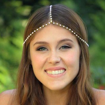 Hair Band Tassels With Pearls String