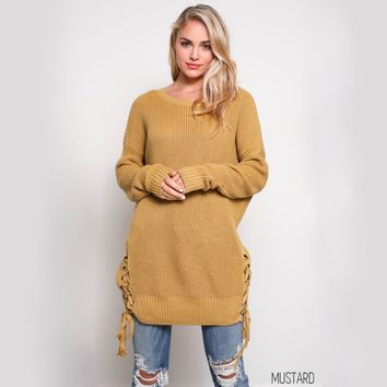 no bad days side grommet sweater - mustard