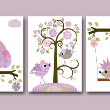 Art for Children Kids Wall Art Baby Girl Room Decor Baby Nursery Decor Baby Girl Nursery Print set of 3 8x10 Print Kids Room Owl Decoration