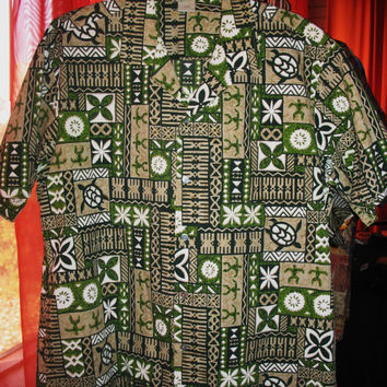 Amazing Vintage Hawaiian Shirt WINNIE FASHION Tribal and Flowers Cotton Blends Size 3XL Made in Hawaii