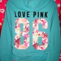 RARE EUC VICTORIA'S SECRET PINK FLORAL TROPICAL ZIP HOODIE SWEATSHIRT MEDIUM