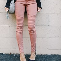 Zara Piped Zip Skinnies - Dusty Rose