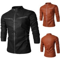 Solid Color Multi-Zip PU Leather Jacket
