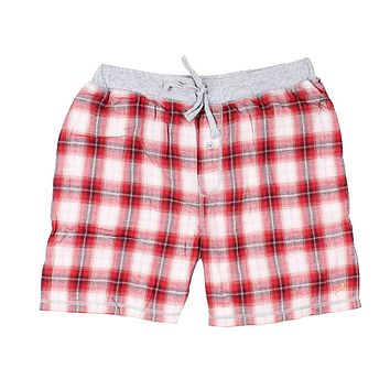 Shadow Plaid Flannel Boxer in Barn Red by True Grit