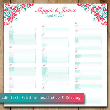 "Wedding Seating Chart Template | Guava Oasis Teal ""Maggie"" Microsoft Word Template 