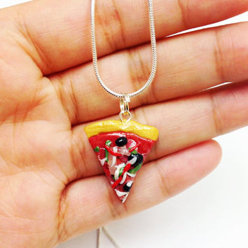Miniature Pizza Necklace, fake food jewelry, polymer clay necklace, mini food necklace, clay food jewelry, cute necklaces girls