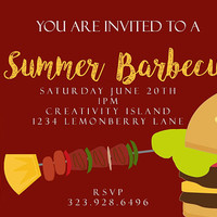 Barbeque Invitations 4x6 summer, kabobs, burger, grill, camping, cookout, grilling, gettogethers, family reunion, outdoor, fun, park