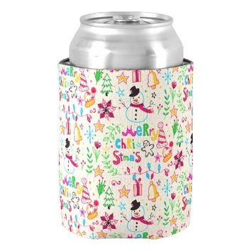 Watercolor Christmas Elements Pattern Can Cooler