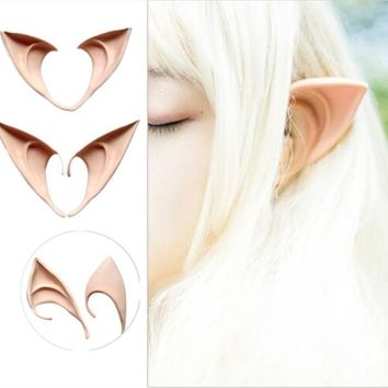 2Pcs/Lot Latex Fairy Pixie Elf Ears Cosplay Accessories LARP Halloween Party Latex Soft Pointed Prosthetic Tips Ear