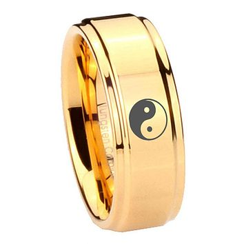 8MM Glossy Gold Step Edges Yin Yang Tungsten Carbide Laser Engraved Ring