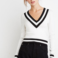 Varsity-Striped Crop Sweater