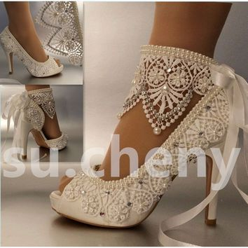 "Brides 4""heell satin white ivory lace ribbon Shoes - Complimentary Shipping"