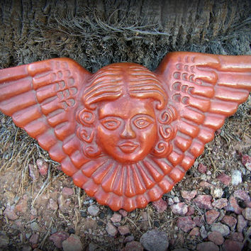 Mexican Clay Angel Face Head Wings Wall Art Hanging Made in Mexico Terra Cotta Folk Art Mask