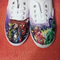 SuperHero Hand Painted Shoes With Laces or Custom Order