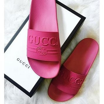 Gucci Casual Fashion Women Man Sandal Slipper Shoes-4