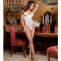 Stretch Lace Open Cup Teddy W-adjustable Shoulder Straps, G-string Back & Ruffled Bustle White O-s