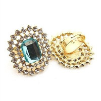 The Elegant Gemstone Ring with Rhinestone Trim