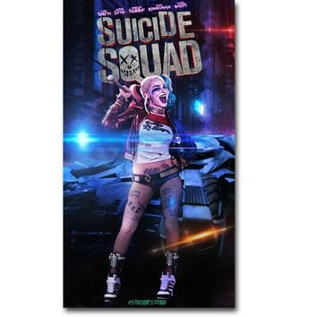 NICOLESHENTING Harley Quinn - Suicide Squad Superheroes Art Silk Fabric Poster Print 13x24 inch Movie Picture Wall Decor 012