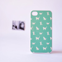 iPhone 4 Case - Cat iPhone 4 Case in Mint Green - Cute iPhone Cases for Girls