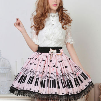 Hot Selling Sweet Lolita Skirt with Piano Key and Melody Printing