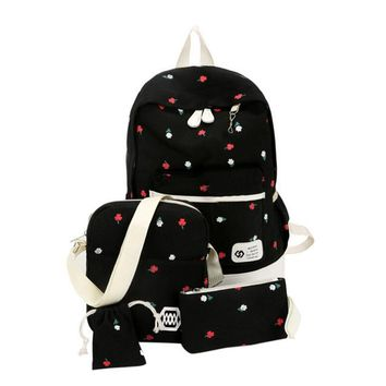 Student Backpack Children 4Pcs Fashion Students Canvas Bags Large Backpack Pouch Four Sets Girls High Quality notebook backpack Backpacks for girls mochil AT_49_3