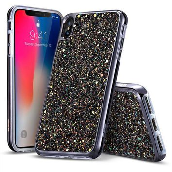 DCCKNY1 iPhone X Case, ESR Glitter Bling Hard Cover with Dual Layer Structure [Hard PC Back Outer + Soft TPU Inner] [Support Wireless Charging] for Apple 5.8' iPhone X /iPhone 10 (2017)(Black)