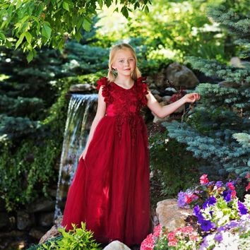 Ariana Ruby Red Petal Sleeve Satin & Lace Gown Dress