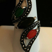 3 Stone Statement Ring Size 8