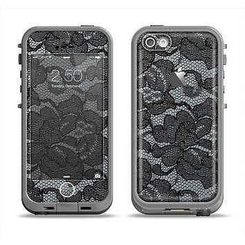 The Black Lace Texture Apple iPhone 5c LifeProof Fre Case Skin Set