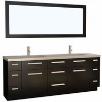 Design Element Moscony 84 in. W x 22 in. D Vanity in Espresso with Quartz Vanity Top and Mirror in Espresso J84-DS at The Home Depot - Mobile