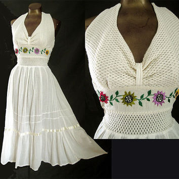 Vintage 70s Boho Halter Sundress Embroidered Gauze Dress Ivory Color