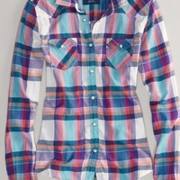 AEO Women's Plaid Flannel Western Shirt