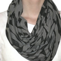 Infinity Scarf Gray and Black Zebra Print Eternity by KikiCloset