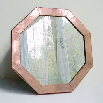 Copper Octagonal Mirror, Copper Frame, Wall Mirror, Decorative Wall Mirror, Rustic Decor, Wood Frame, Distressed Mirror, Metal Mirror