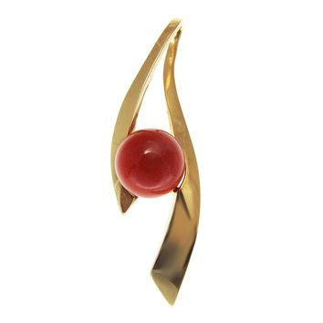 GENUINE NATURAL 9.65MM RED CORAL BALL PENDANT SLIDE SOLID 14K YELLOW GOLD