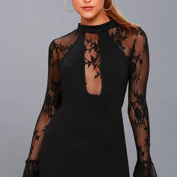It's Now or Never Black Lace Bodycon Dress