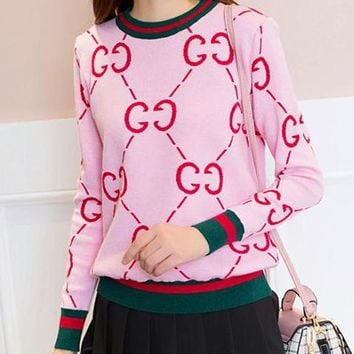 GUCCI Autumn Winter Fashion Women Casual Double G Letter Long Sleeve Knit Sweater Top Sweatshirt Pink