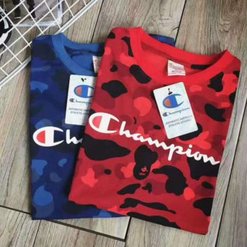 Champion print long sleeve sweater Camouflage blue top  H-A-XYCL