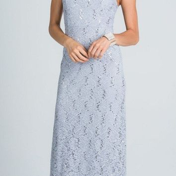 Silver Long Formal Dress Lace with Embellished Neckline
