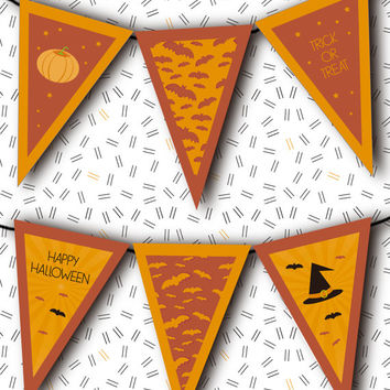 Halloween Decor INSTANT DOWNLOAD Halloween Garland / digital printable pdf / diy party banner decoration pennant flag trick or treat craft