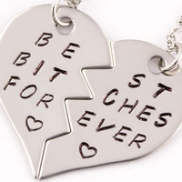 best bitches forever broken heart necklace set | best friend gift | stainless steel  (HN)