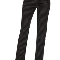 Fashion Women Skinny Trousers Dress Pants Mid Rise Black Casual Slim Fit Stripe